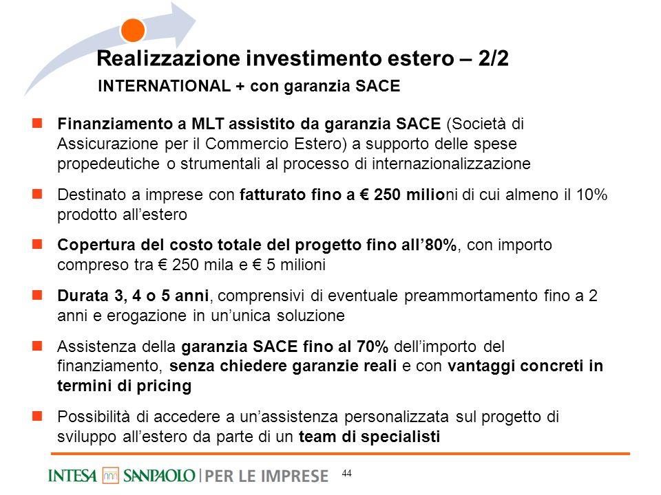 INTERNATIONAL + con garanzia SACE Finanziamento a MLT assistito da garanzia SACE (Società di Assicurazione per il Commercio Estero) a supporto delle s