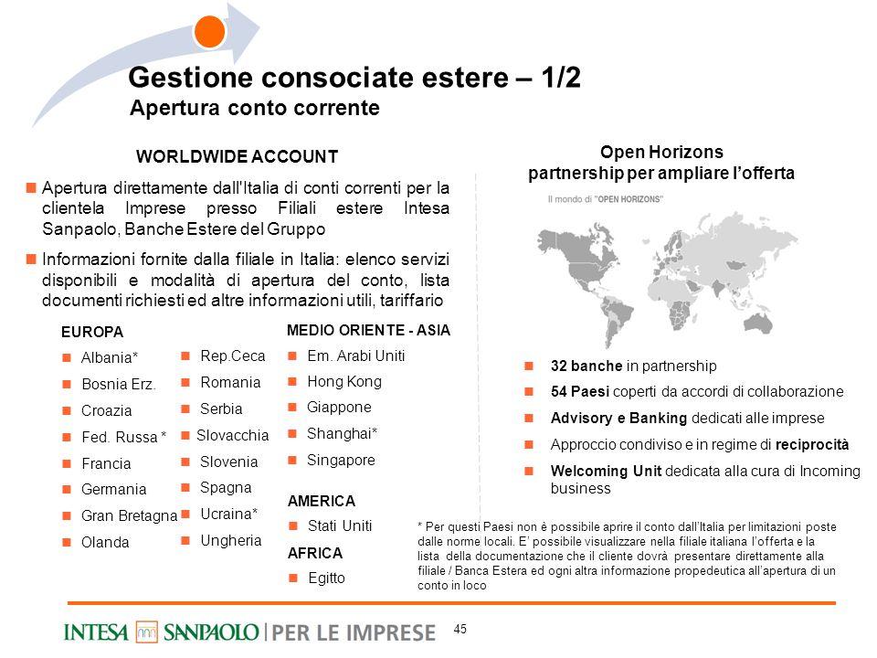 WORLDWIDE ACCOUNT Apertura direttamente dall'Italia di conti correnti per la clientela Imprese presso Filiali estere Intesa Sanpaolo, Banche Estere de