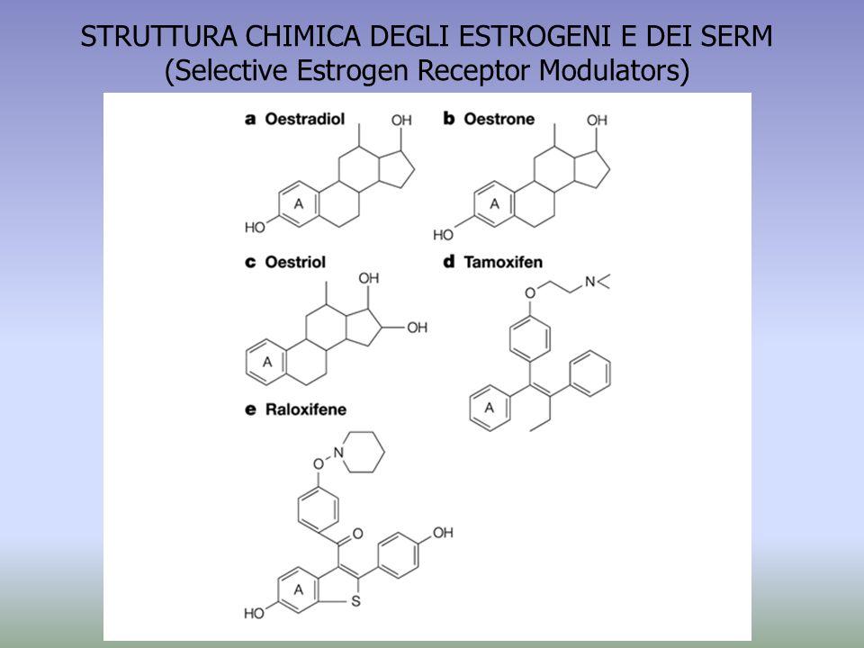 STRUTTURA CHIMICA DEGLI ESTROGENI E DEI SERM (Selective Estrogen Receptor Modulators)