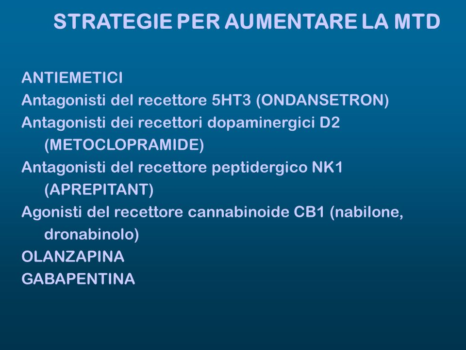 STRATEGIE PER AUMENTARE LA MTD ANTIEMETICI Antagonisti del recettore 5HT3 (ONDANSETRON) Antagonisti dei recettori dopaminergici D2 (METOCLOPRAMIDE) An