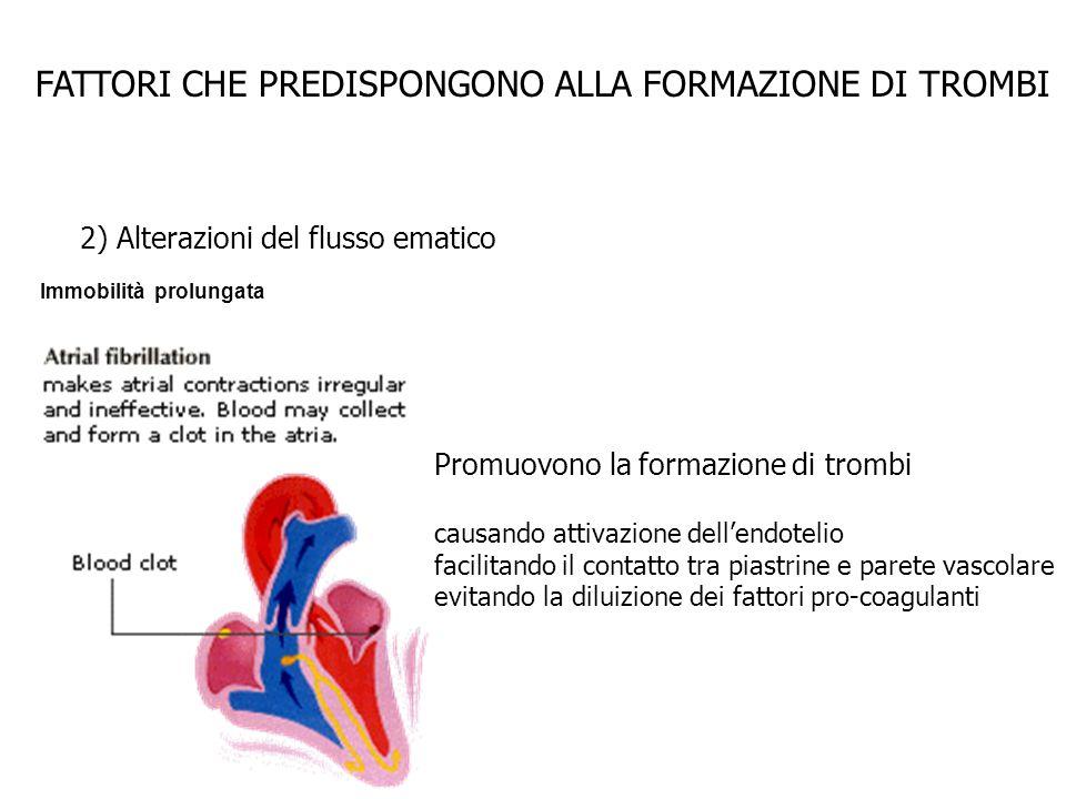 FATTORI CHE PREDISPONGONO ALLA FORMAZIONE DI TROMBI 2) Alterazioni del flusso ematico Immobilità prolungata Promuovono la formazione di trombi causand