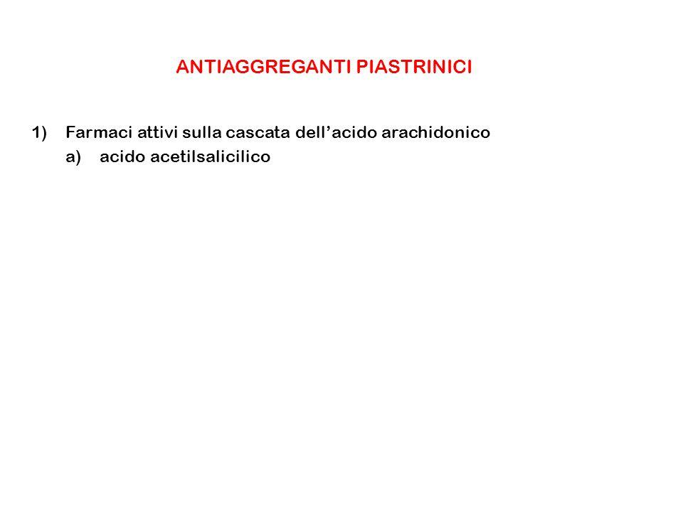 ANTIAGGREGANTI PIASTRINICI 1)Farmaci attivi sulla cascata dellacido arachidonico a)acido acetilsalicilico
