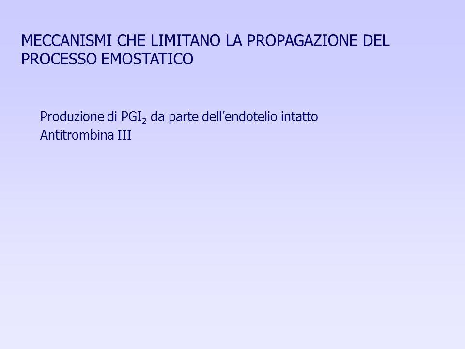 MECCANISMI CHE LIMITANO LA PROPAGAZIONE DEL PROCESSO EMOSTATICO Produzione di PGI 2 da parte dellendotelio intatto Antitrombina III