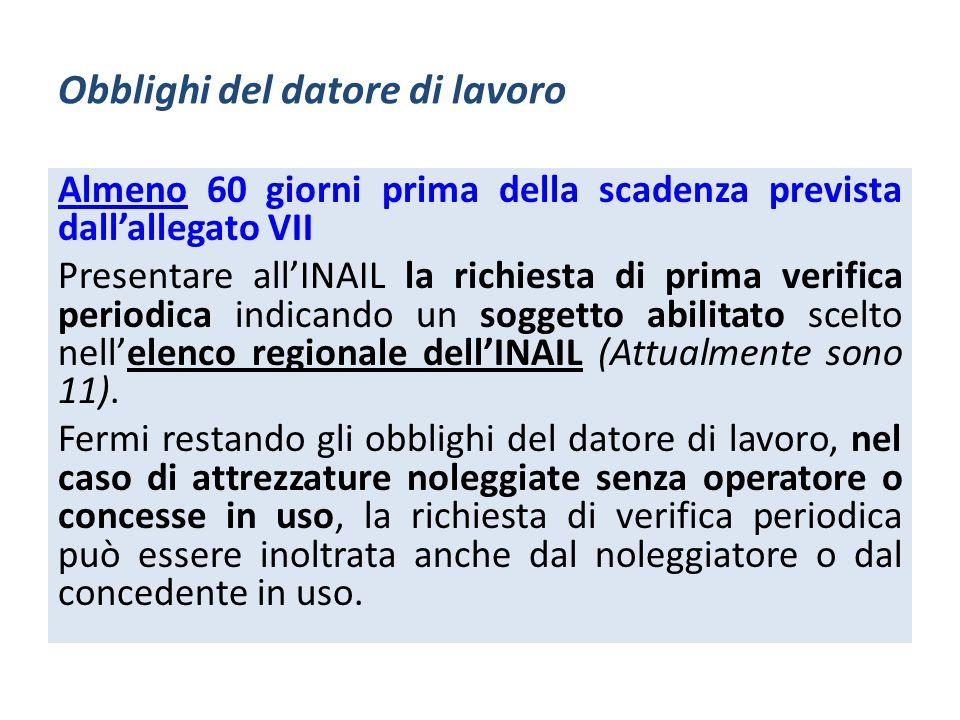 Obblighi del datore di lavoro Almeno 60 giorni prima della scadenza prevista dallallegato VII Presentare allINAIL la richiesta di prima verifica perio