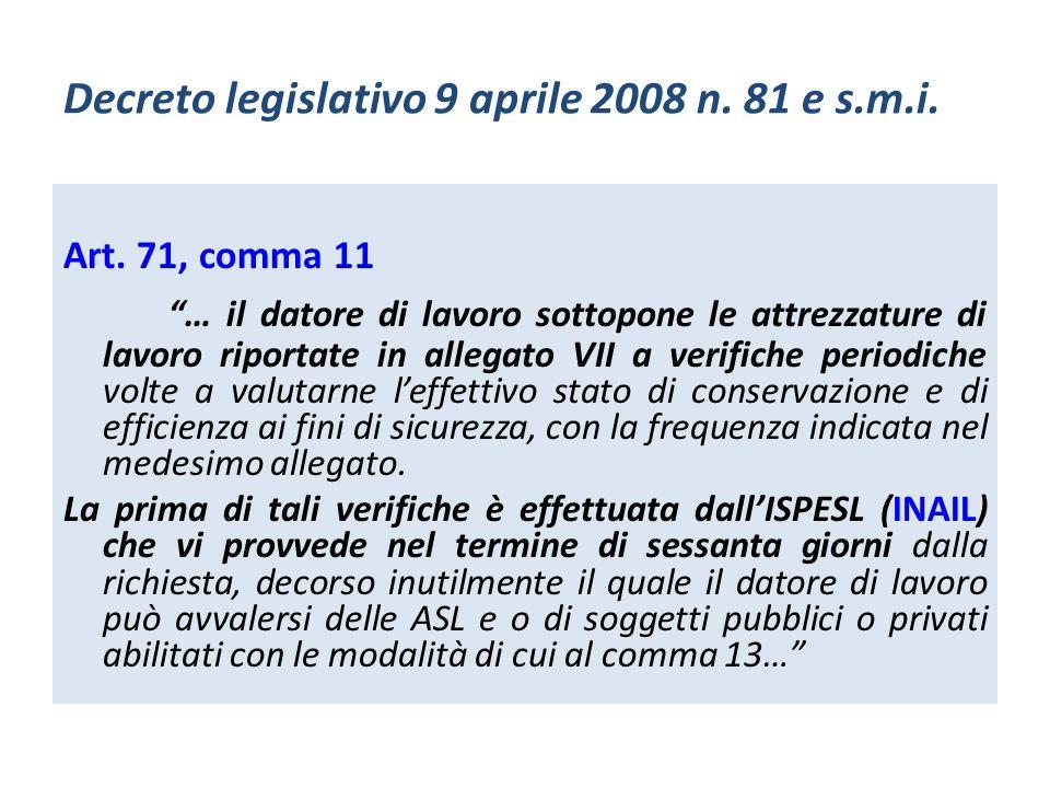 Decreto legislativo 9 aprile 2008 n. 81 e s.m.i. Art. 71, comma 11 … il datore di lavoro sottopone le attrezzature di lavoro riportate in allegato VII