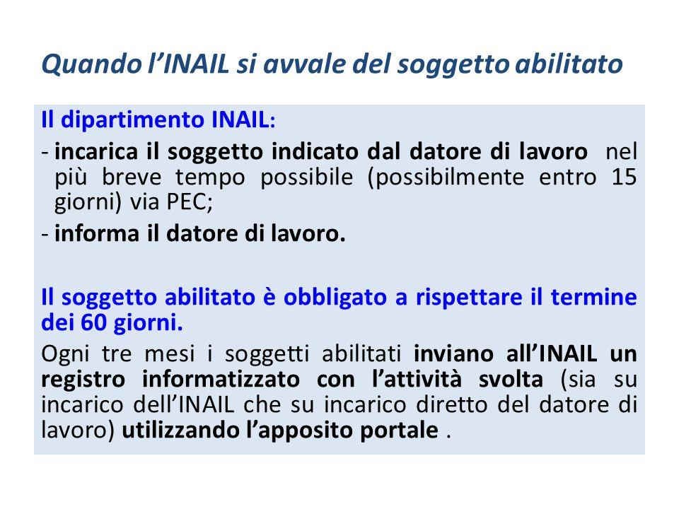 Quando lINAIL si avvale del soggetto abilitato Il dipartimento INAIL : -incarica il soggetto indicato dal datore di lavoro nel più breve tempo possibi