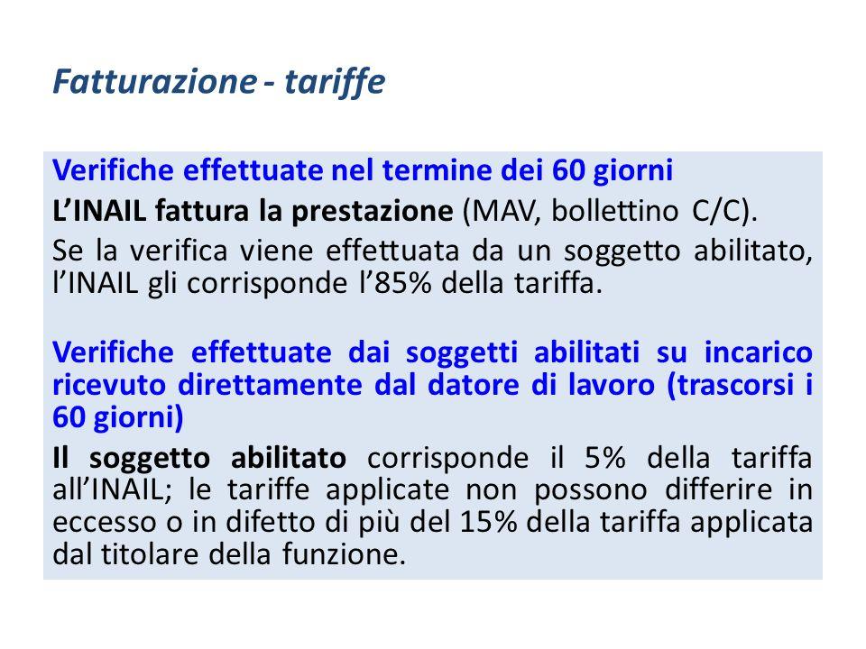 Fatturazione - tariffe Verifiche effettuate nel termine dei 60 giorni LINAIL fattura la prestazione (MAV, bollettino C/C). Se la verifica viene effett
