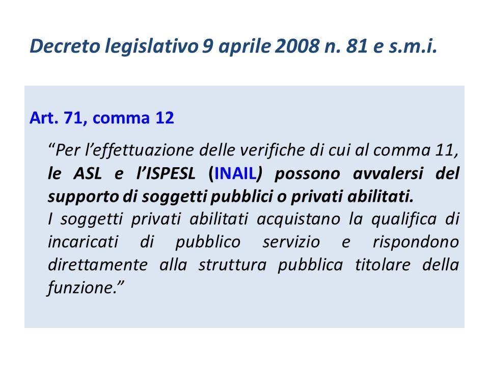 Decreto legislativo 9 aprile 2008 n. 81 e s.m.i. Art. 71, comma 12 Per leffettuazione delle verifiche di cui al comma 11, le ASL e lISPESL (INAIL) pos
