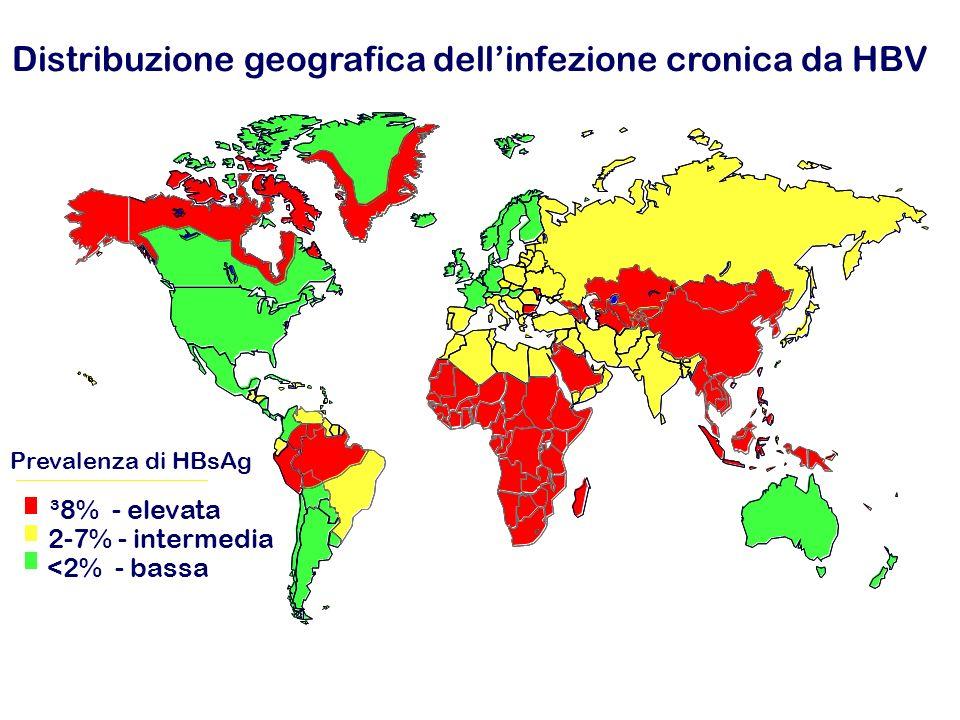 Prevalenza di HBsAg ³8% - elevata 2-7% - intermedia <2% - bassa Distribuzione geografica dellinfezione cronica da HBV