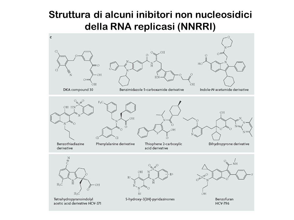 Struttura di alcuni inibitori non nucleosidici della RNA replicasi (NNRRI)