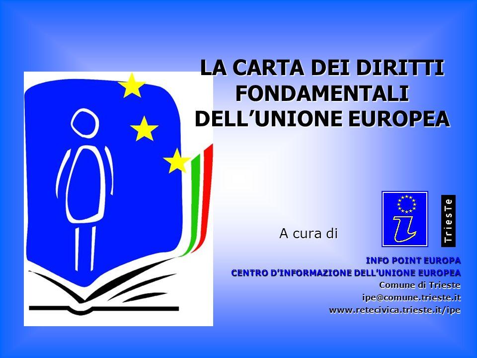 LA CARTA DEI DIRITTI FONDAMENTALI DELLUNIONE EUROPEA INFO POINT EUROPA CENTRO DINFORMAZIONE DELLUNIONE EUROPEA Comune di Trieste ipe@comune.trieste.it