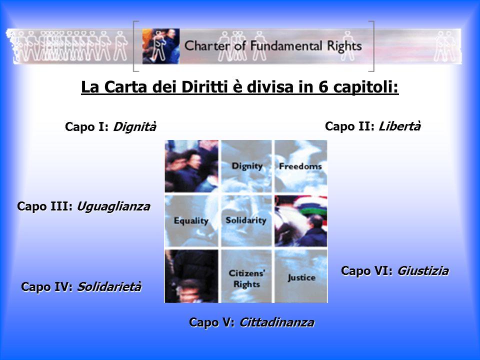 La Carta dei Diritti è divisa in 6 capitoli: Capo I: Dignità Capo II: Libertà Capo III: Uguaglianza Capo IV: Solidarietà Capo V: Cittadinanza Capo VI: