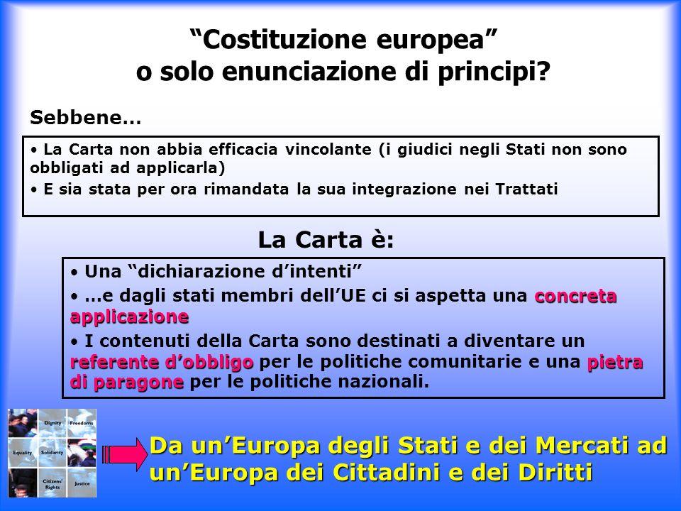 Costituzione europea o solo enunciazione di principi? La Carta non abbia efficacia vincolante (i giudici negli Stati non sono obbligati ad applicarla)