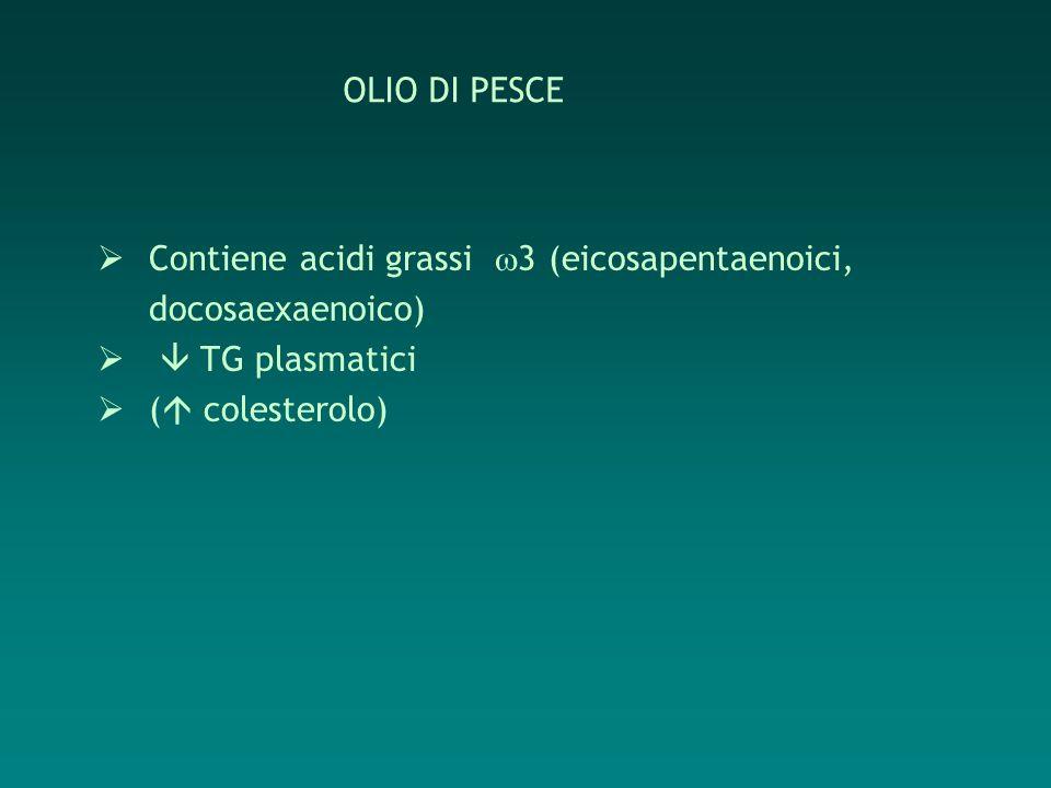 Contiene acidi grassi 3 (eicosapentaenoici, docosaexaenoico) TG plasmatici ( colesterolo) OLIO DI PESCE