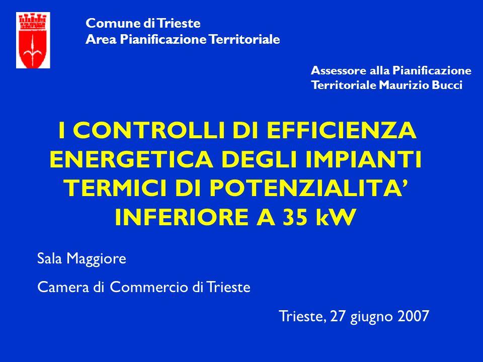 I CONTROLLI DI EFFICIENZA ENERGETICA DEGLI IMPIANTI TERMICI DI POTENZIALITA INFERIORE A 35 kW Comune di Trieste Area Pianificazione Territoriale Sala