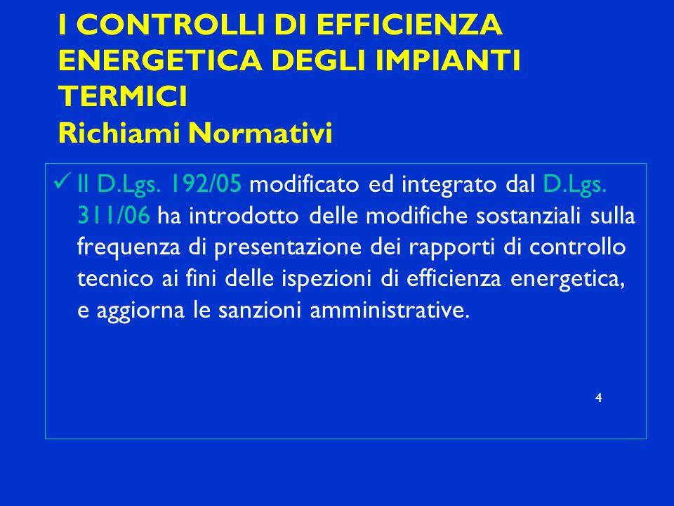 I CONTROLLI DI EFFICIENZA ENERGETICA DEGLI IMPIANTI TERMICI Richiami Normativi Il D.Lgs. 192/05 modificato ed integrato dal D.Lgs. 311/06 ha introdott