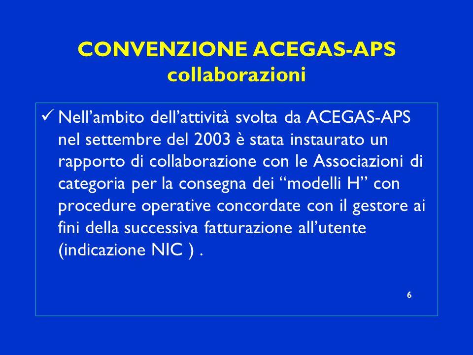 CONVENZIONE ACEGAS-APS collaborazioni Nellambito dellattività svolta da ACEGAS-APS nel settembre del 2003 è stata instaurato un rapporto di collaboraz