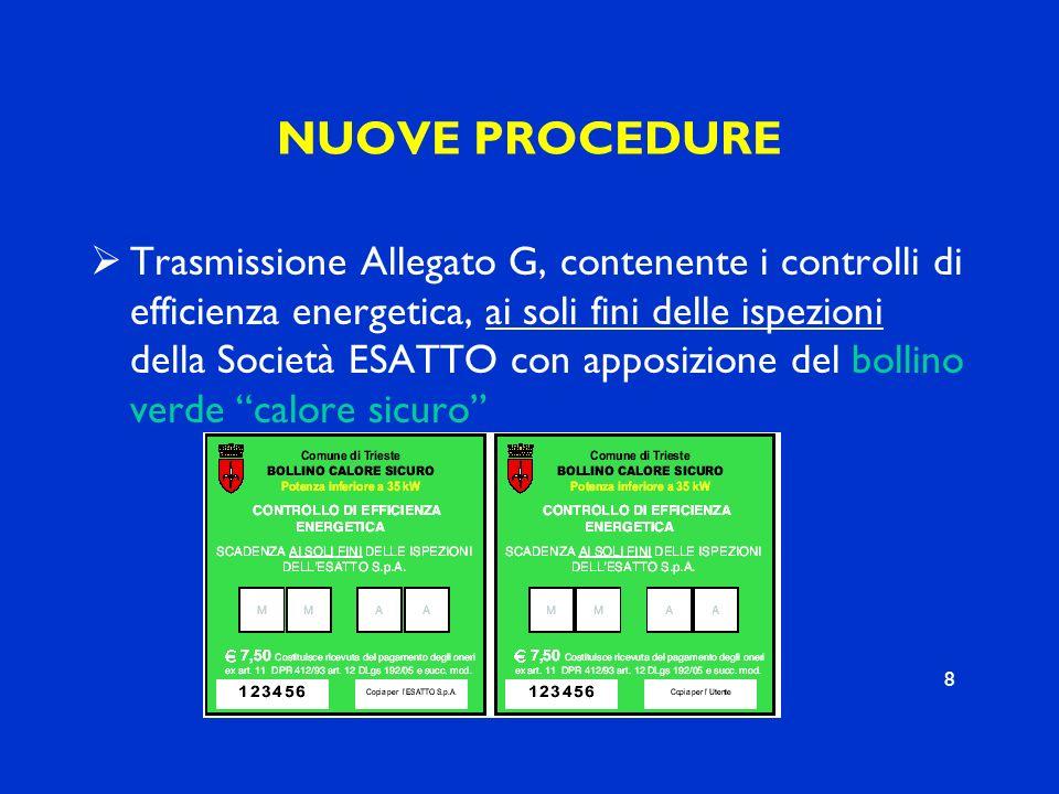 NUOVE PROCEDURE Trasmissione Allegato G, contenente i controlli di efficienza energetica, ai soli fini delle ispezioni della Società ESATTO con apposi