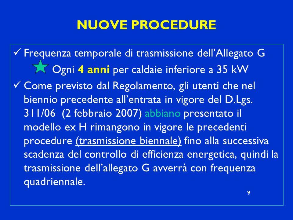 NUOVE PROCEDURE Frequenza temporale di trasmissione dellAllegato G Ogni 4 anni per caldaie inferiore a 35 kW Come previsto dal Regolamento, gli utenti