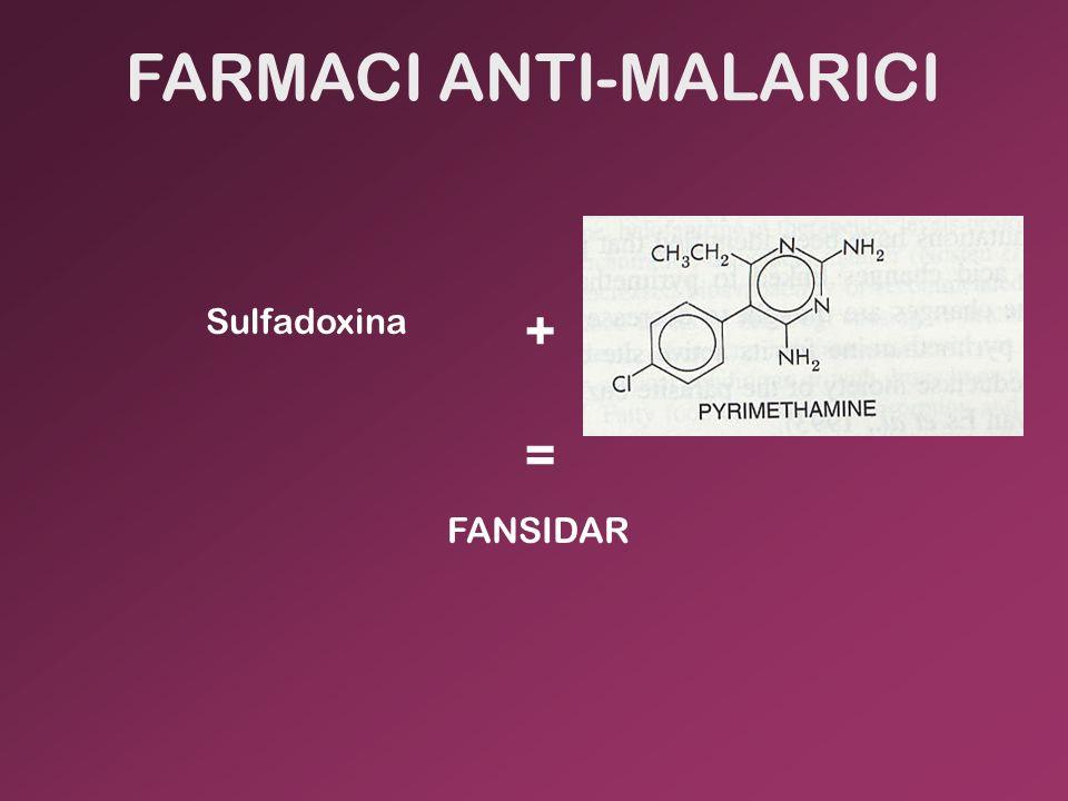 + Sulfadoxina FANSIDAR = FARMACI ANTI-MALARICI