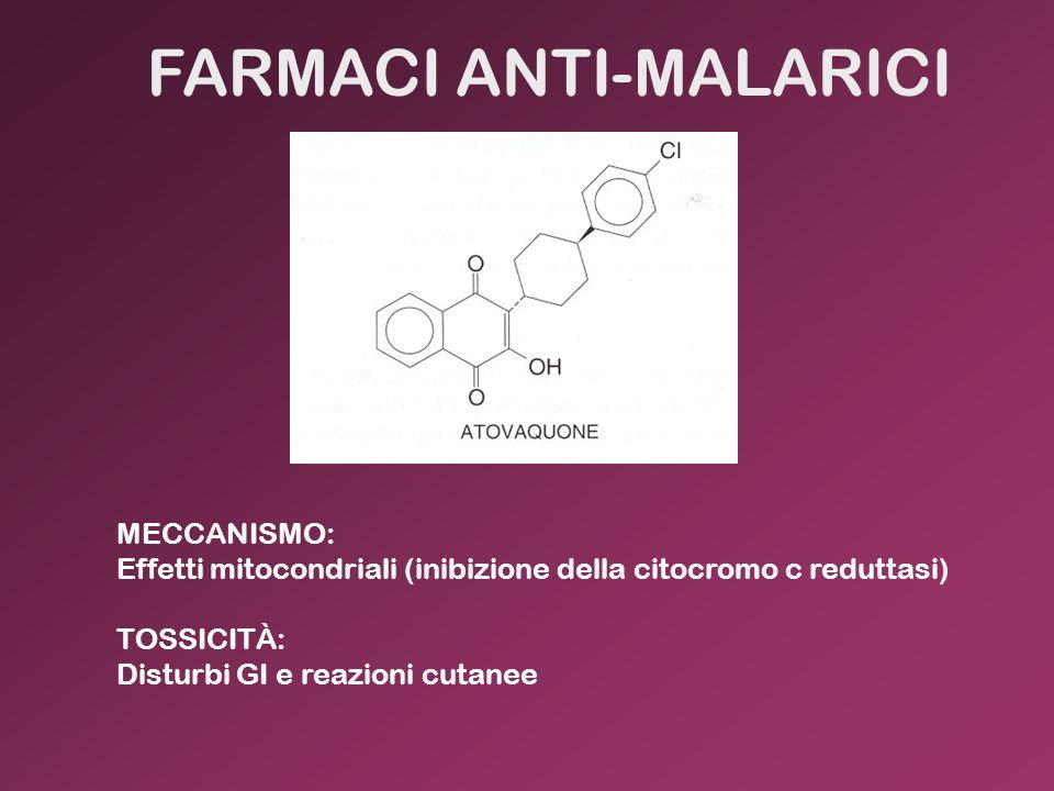 FARMACI ANTI-MALARICI MECCANISMO: Effetti mitocondriali (inibizione della citocromo c reduttasi) TOSSICITÀ: Disturbi GI e reazioni cutanee