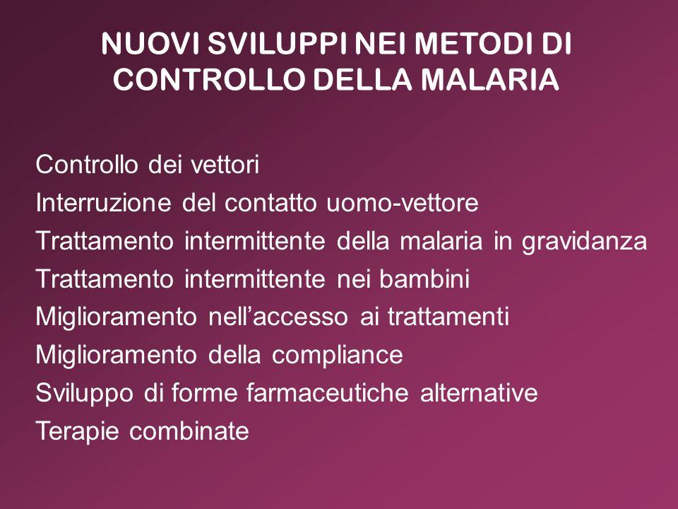 NUOVI SVILUPPI NEI METODI DI CONTROLLO DELLA MALARIA Controllo dei vettori Interruzione del contatto uomo-vettore Trattamento intermittente della mala