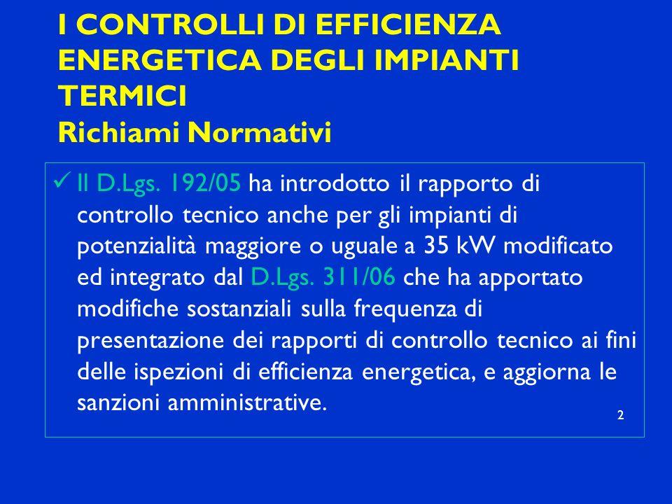 I CONTROLLI DI EFFICIENZA ENERGETICA DEGLI IMPIANTI TERMICI Richiami Normativi Il D.Lgs. 192/05 ha introdotto il rapporto di controllo tecnico anche p