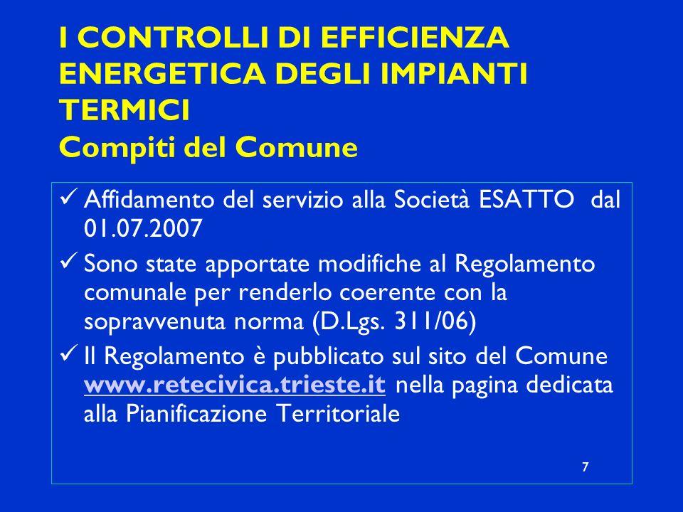 I CONTROLLI DI EFFICIENZA ENERGETICA DEGLI IMPIANTI TERMICI Compiti del Comune Affidamento del servizio alla Società ESATTO dal 01.07.2007 Sono state