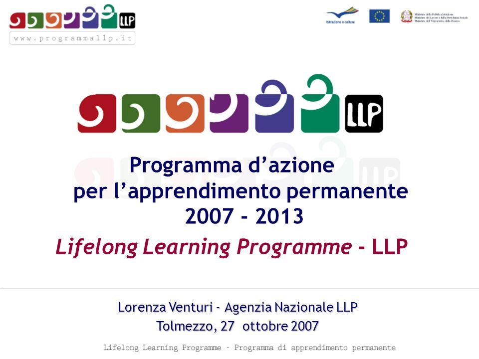 Programma dazione per lapprendimento permanente 2007 - 2013 Lifelong Learning Programme - LLP Lorenza Venturi - Agenzia Nazionale LLP Tolmezzo, 27 ottobre 2007