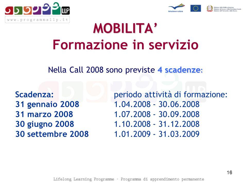 MOBILITA MOBILITA Formazione in servizio 4 scadenze : Nella Call 2008 sono previste 4 scadenze : Scadenza:periodo attività di formazione: 31 gennaio 2008 1.04.2008 - 30.06.2008 31 marzo 2008 1.07.2008 - 30.09.2008 30 giugno 2008 1.10.2008 - 31.12.2008 30 settembre 2008 1.01.2009 - 31.03.2009 16