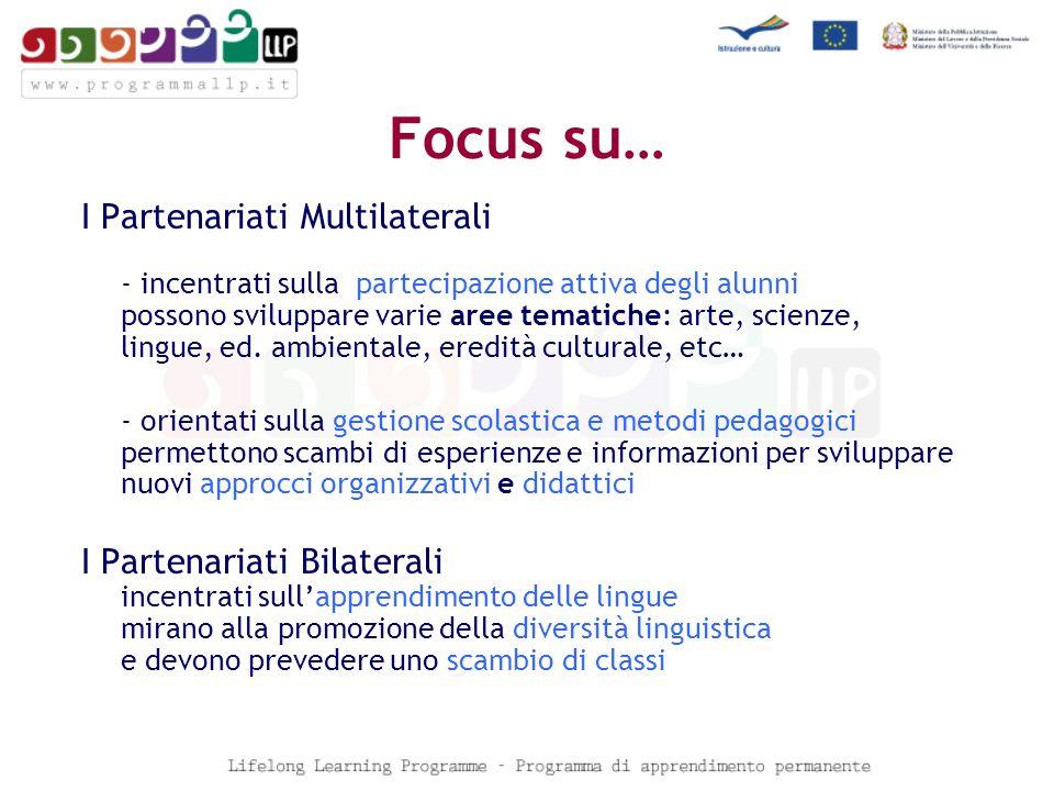 Focus su… I Partenariati Multilaterali - incentrati sulla partecipazione attiva degli alunni possono sviluppare varie aree tematiche: arte, scienze, lingue, ed.