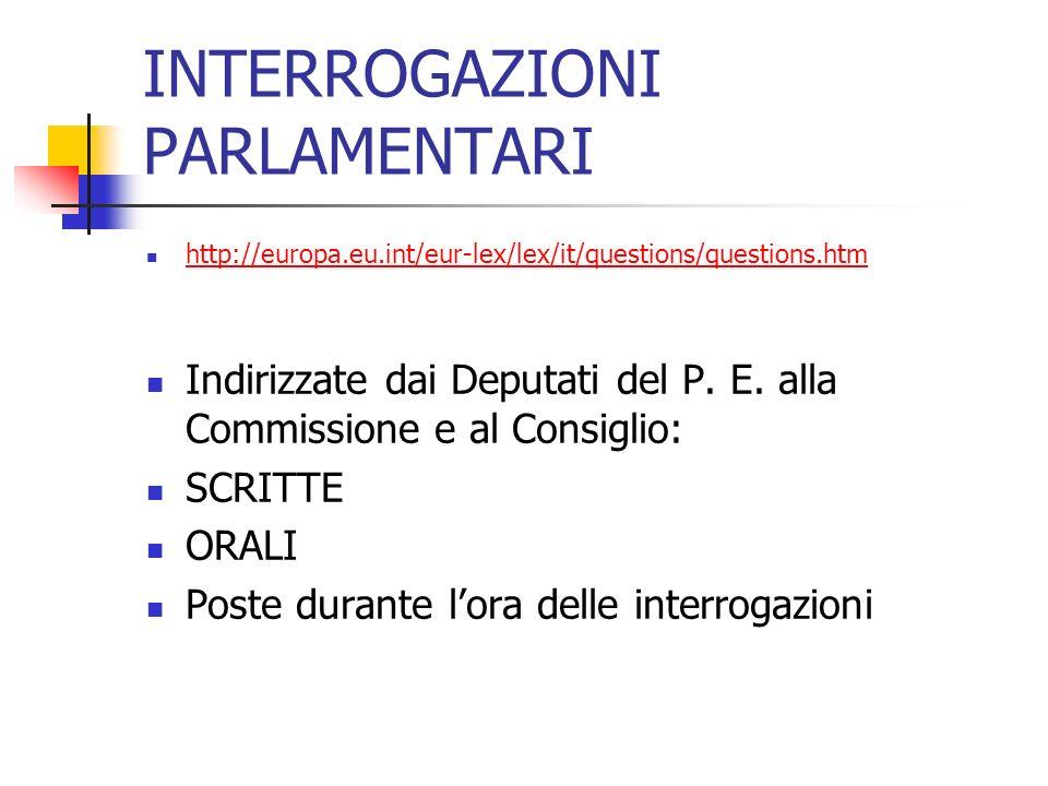 INTERROGAZIONI PARLAMENTARI http://europa.eu.int/eur-lex/lex/it/questions/questions.htm Indirizzate dai Deputati del P.