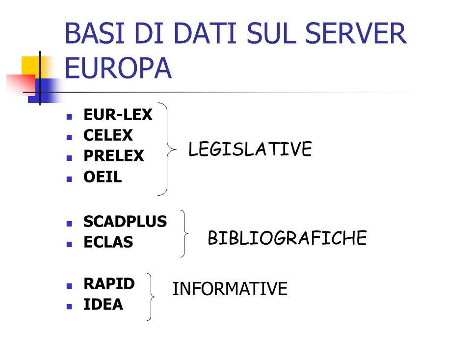 BASI DI DATI SUL SERVER EUROPA EUR-LEX CELEX PRELEX OEIL SCADPLUS ECLAS RAPID IDEA LEGISLATIVE BIBLIOGRAFICHE INFORMATIVE