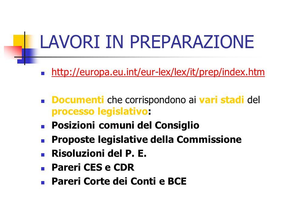 LAVORI IN PREPARAZIONE http://europa.eu.int/eur-lex/lex/it/prep/index.htm Documenti che corrispondono ai vari stadi del processo legislativo: Posizionicomuni del Consiglio Proposte legislative della Commissione Risoluzioni del P.