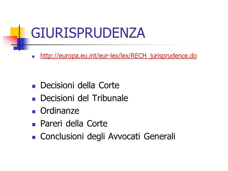 GIURISPRUDENZA http://europa.eu.int/eur-lex/lex/RECH_jurisprudence.do Decisioni della Corte Decisioni del Tribunale Ordinanze Pareri della Corte Conclusioni degli Avvocati Generali
