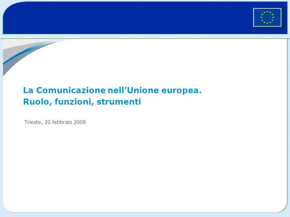 La Comunicazione nellUnione europea. Ruolo, funzioni, strumenti Trieste, 20 febbraio 2009