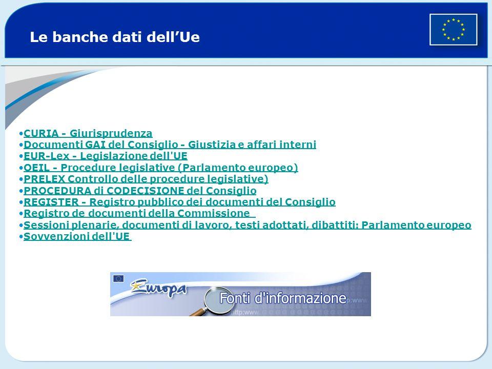 Le banche dati dellUe CURIA - Giurisprudenza Documenti GAI del Consiglio - Giustizia e affari interni EUR-Lex - Legislazione dell'UE OEIL - Procedure