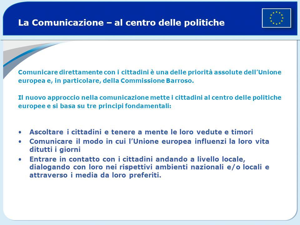 La Comunicazione – al centro delle politiche Comunicare direttamente con i cittadini è una delle priorità assolute dellUnione europea e, in particolare, della Commissione Barroso.