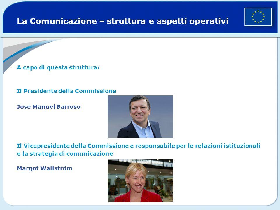 La Comunicazione – struttura e aspetti operativi A capo di questa struttura: Il Presidente della Commissione José Manuel Barroso Il Vicepresidente della Commissione e responsabile per le relazioni istituzionali e la strategia di comunicazione Margot Wallström