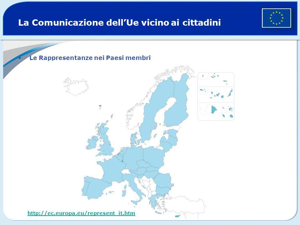 La Comunicazione dellUe vicino ai cittadini Le Rappresentanze nei Paesi membri http://ec.europa.eu/represent_it.htm