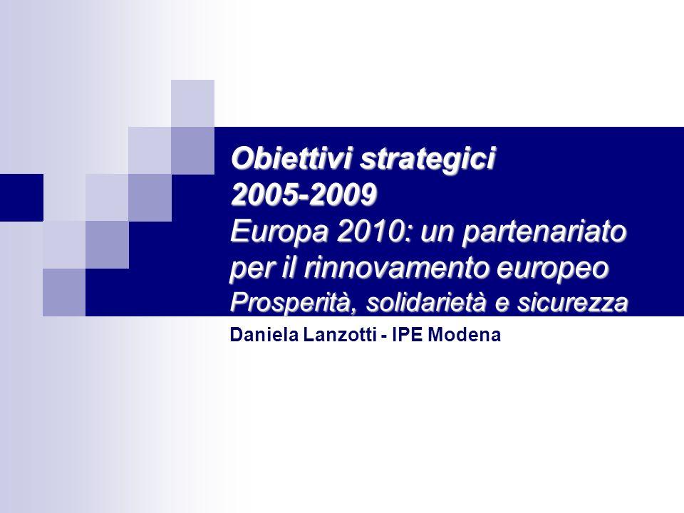 Obiettivi strategici 2005-2009 Europa 2010: un partenariato per il rinnovamento europeo Prosperità, solidarietà e sicurezza Daniela Lanzotti - IPE Modena