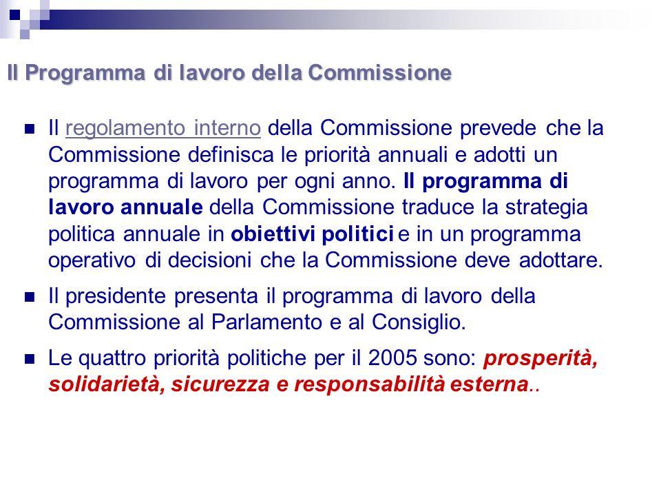 Il Programma di lavoro della Commissione Il regolamento interno della Commissione prevede che la Commissione definisca le priorità annuali e adotti un programma di lavoro per ogni anno.