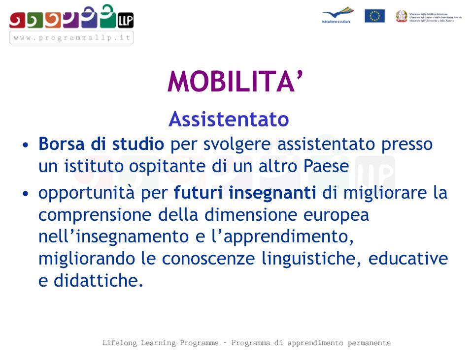 MOBILITA Assistentato Borsa di studio per svolgere assistentato presso un istituto ospitante di un altro Paese opportunità per futuri insegnanti di migliorare la comprensione della dimensione europea nellinsegnamento e lapprendimento, migliorando le conoscenze linguistiche, educative e didattiche.