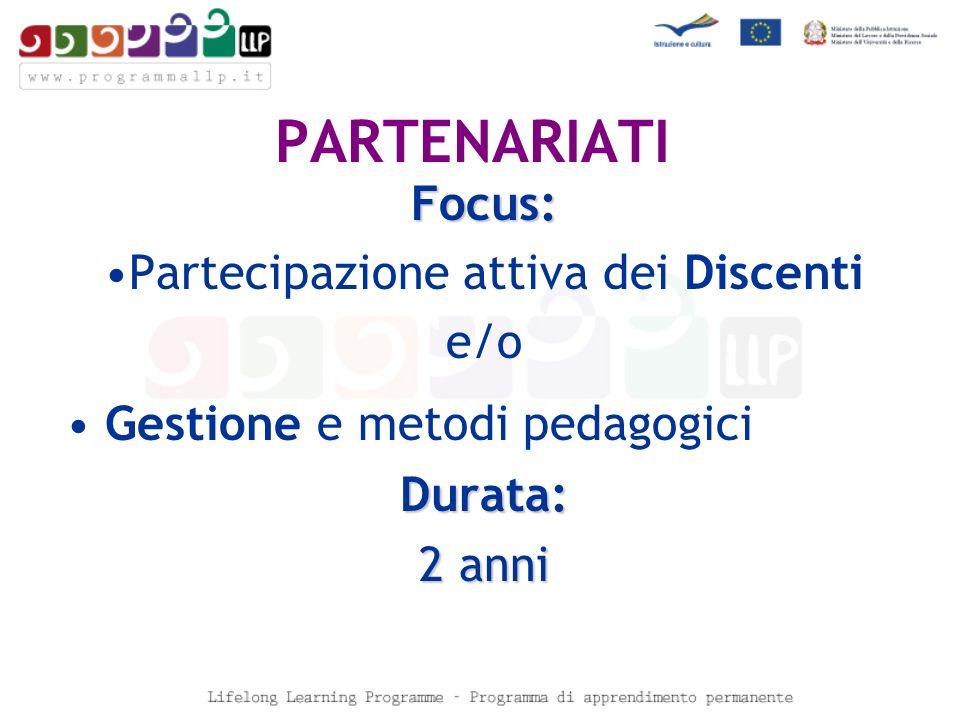 PARTENARIATI Focus: Partecipazione attiva dei Discenti e/o Gestione e metodi pedagogiciDurata: 2 anni