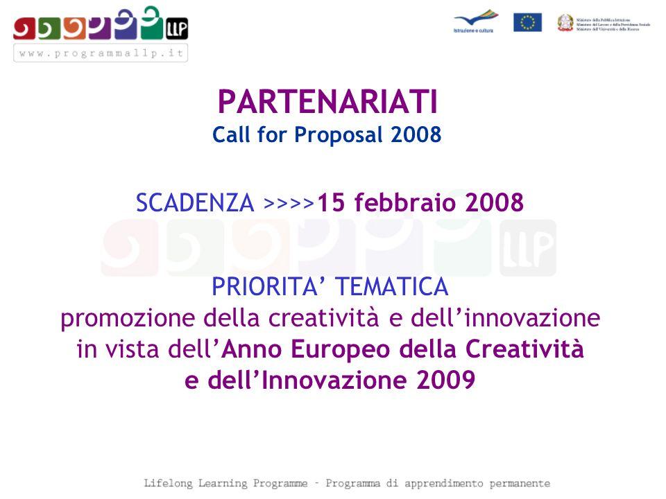 PARTENARIATI Call for Proposal 2008 SCADENZA >>>>15 febbraio 2008 PRIORITA TEMATICA promozione della creatività e dellinnovazione in vista dellAnno Europeo della Creatività e dellInnovazione 2009