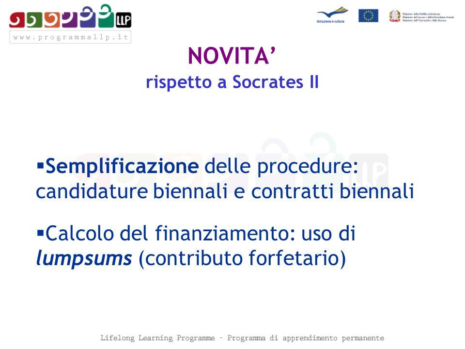 NOVITA rispetto a Socrates II Semplificazione delle procedure: candidature biennali e contratti biennali Calcolo del finanziamento: uso di lumpsums (contributo forfetario)