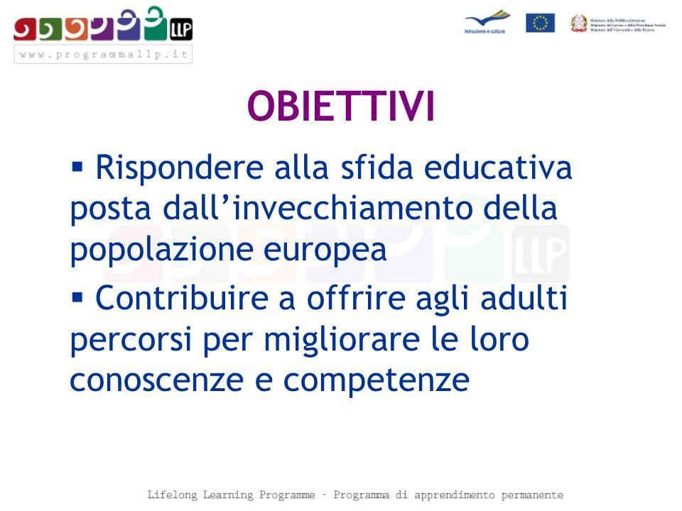 OBIETTIVI Rispondere alla sfida educativa posta dallinvecchiamento della popolazione europea Contribuire a offrire agli adulti percorsi per migliorare le loro conoscenze e competenze