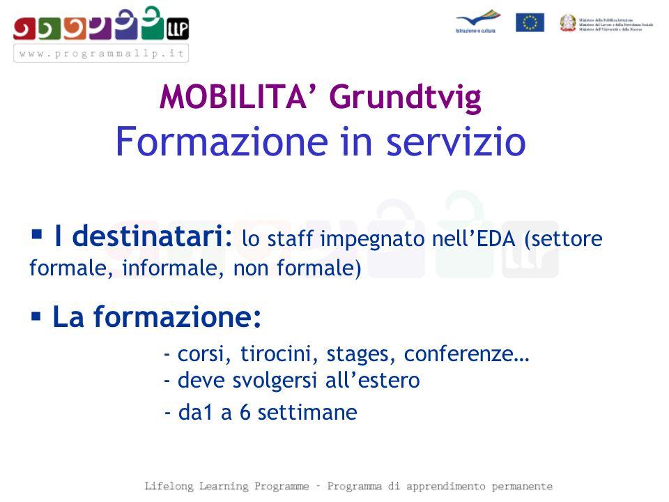 MOBILITA Grundtvig Formazione in servizio 4 scadenze : Nella Call 2008 sono previste 4 scadenze : Scadenza:periodo attività di formazione: 31 gennaio 2008 1.04.2008 - 30.06.2008 31 marzo 2008 1.07.2008 - 30.09.2008 30 giugno 2008 1.10.2008 - 31.12.2008 30 settembre 2008 1.01.2009 - 31.03.2009 8
