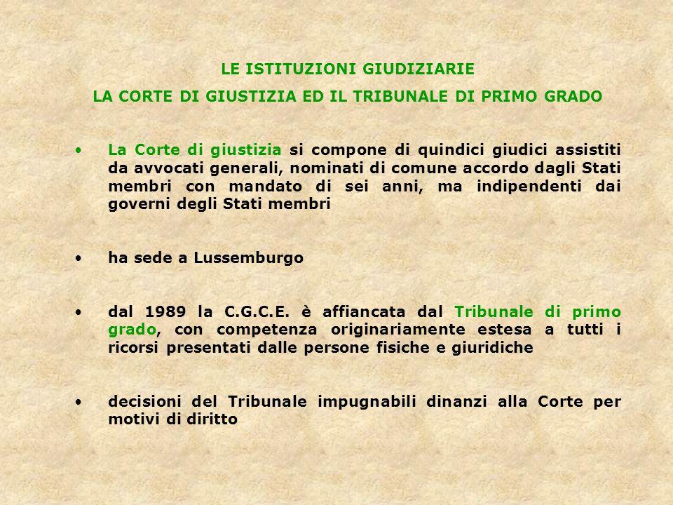 LE ISTITUZIONI GIUDIZIARIE LA CORTE DI GIUSTIZIA ED IL TRIBUNALE DI PRIMO GRADO La Corte di giustizia si compone di quindici giudici assistiti da avvo