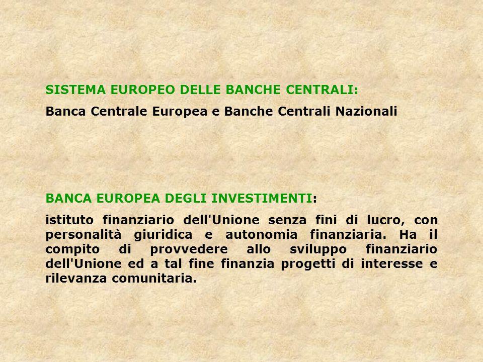 SISTEMA EUROPEO DELLE BANCHE CENTRALI: Banca Centrale Europea e Banche Centrali Nazionali BANCA EUROPEA DEGLI INVESTIMENTI: istituto finanziario dell'